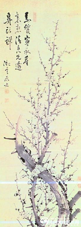 其《墨梅》一图中,梅树扭曲的枝干于画面中部猝然消失,似乎在用尽水墨